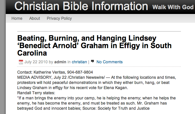 Christians to Hang, Beat, Burn Lindsey in Effigy